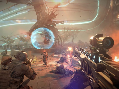 A screen shot from the video game 'Killzone: Shadow Fall' for the new PlayStation 4 game system.