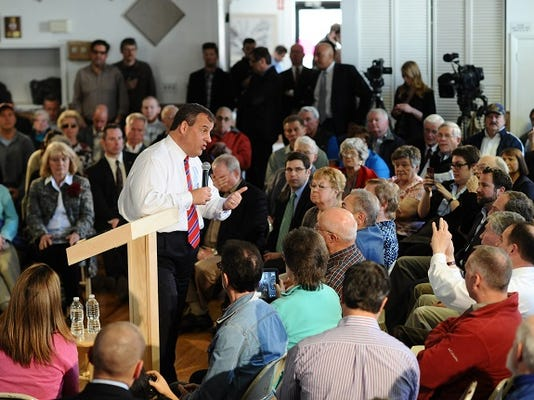 New Jersey Gov. Chris Christie hosts a Town Hall Meeting in Londonderry, N.H., Wednesday, April 15, 2015. (Tyson Trish/The Record of Bergen County via AP) ONLINE OUT; MAGS OUT; TV OUT; INTERNET OUT;  NO ARCHIVING; MANDATORY CREDIT