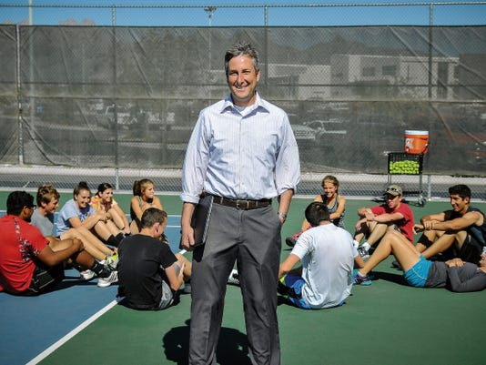 Tim Hand, director of assessment, analysis and research at Las Cruces Public Schools, is also a tennis coach at Centennial High School. Hand has been coaching tennis for 20 years.