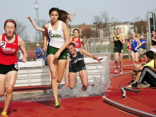 West York's Maddie Miller competes in the girls' Class AAA 2,000-meter steeplechase at Saturday's Jack Roddick track and field invitational at Shippensburg University. Miller finished fourth in the event in a time of 8:36.33.