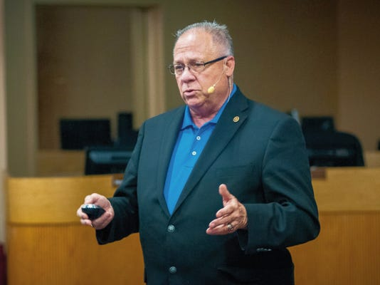 Jett Loe--Sun-News   Superintendent of Las Cruces Public Schools Stan Rounds speaks at a town hall meeting at the LCPS Administration Building Board Room on Tuesday.