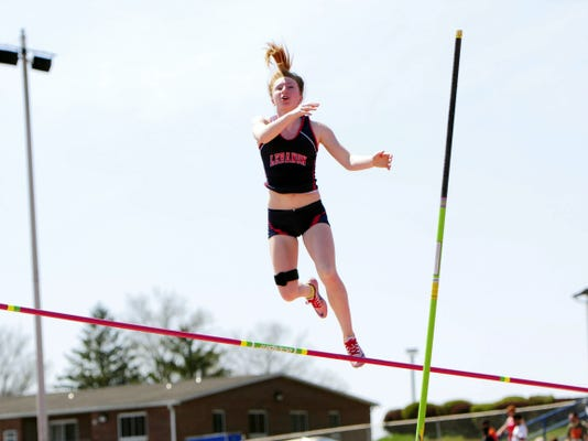 Lebanon High's Erin Winters soared to victory in the Class AAA pole vault at the Jack Roddick Invitational at Shippensburg University on Saturday.