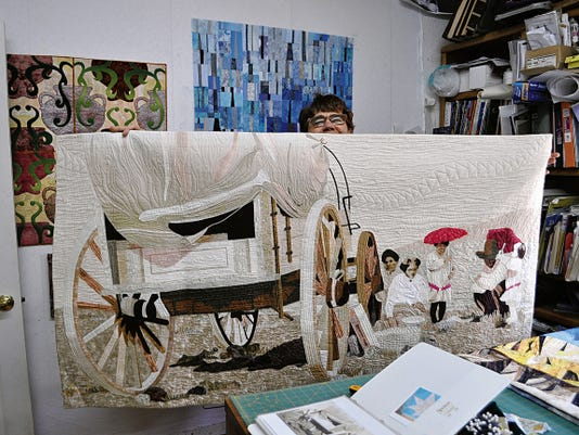 Drawing her inspiration from a variety of sources, fiber artist Vicki Conley, creates fibre art from both reality and imaginary life. This quilt is bast on a historic Lincoln County photo.