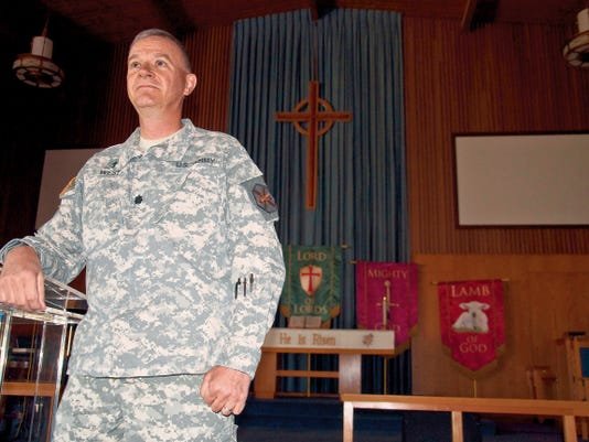 White Sands Missile Range Chaplain, Lt. Col. Bradley West posed for photos during his final interview before retirement at the installation chapel.