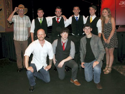 "Kerri Fleegle — Public Opinion Six of the seven semi-finalists from the ""A Capella & Unplugged"" musical contest are, back row, from left, Ray Owens, The Song Birds and Elise Stendal; front row, John Felter, Drew Drach and Austin Poulson. Taylor Piper and Kristopher Potter, the act known as A World Apart, are not pictured."
