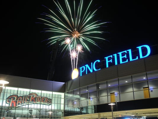 A fireworks display at PNC Field in Scranton.