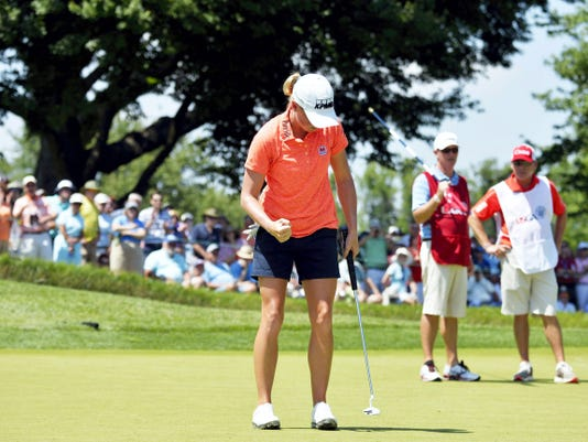 Stacy Lewis reacts after making birdie on the second green Saturday during the third round of the U.S. Women's Open at Lancaster Country Club. Lewis is in second place entering Sunday's final round, three strokes behind leader Amy Yang.