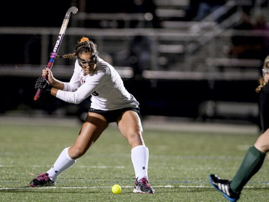 Erin Huffman, shown here in Thursday's win over Central Dauphin, contributed two goals and an assist to the Cougars' 3-0 district quarterfinal win over Cumberland Valley on Saturday.
