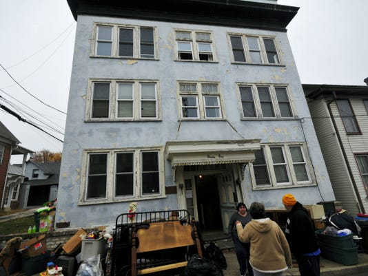 Residents were told to evacuate this apartment building on Monday, after an investigation on Sunday revealed a broken sewer line that made the South Grant Street building in Waynesboro dangerous to live in.