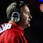 PISCATAWAY, NJ - NOVEMBER 15: Head coach Kevin Wilson of the Indiana Hoosiers looks on during a game against the Rutgers Scarlet Knights at High Point Solutions Stadium on November 15, 2014 in Piscataway, New Jersey. (Photo by Alex Goodlett/Getty Images)
