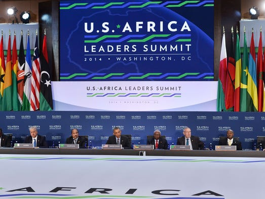 President Obama, center, addresses a session of the U.S.-Africa Leaders Summit in Washington on Aug. 6.