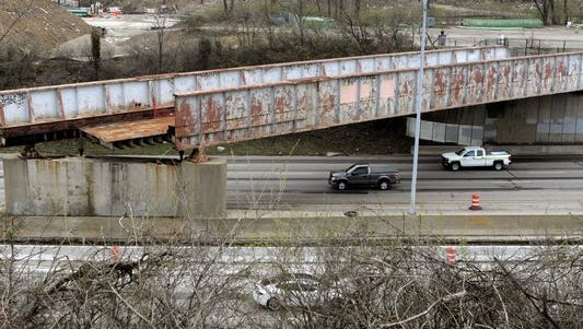 The rest of the old Conrail bridge spanning northbound I-71 in Walnut Hills is scheduled to be torn down this weekend.