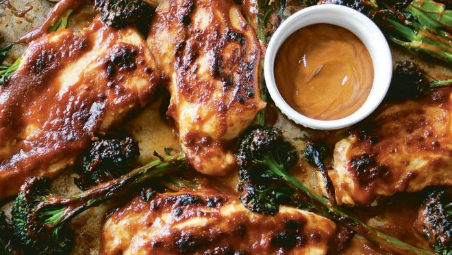 Quick chicken and broccoli with peanut sauce.