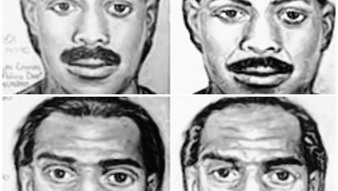A sketch of what the Las Cruces Bowl murder suspects may have looked like in 1990 and what they may have looked like in 2015.