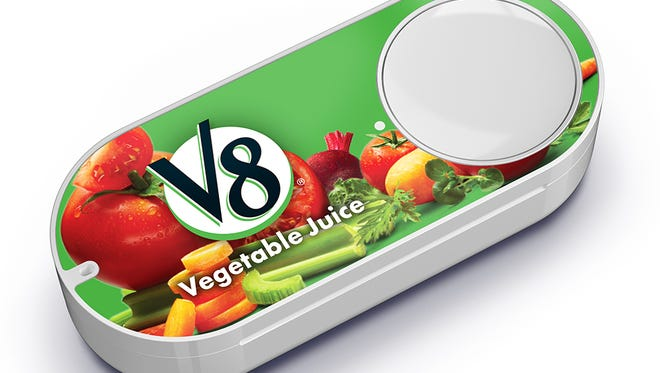 The new Amazon Dash button for V8 Vegetable Juice. It's one of more than 50 new brands added to Dash.