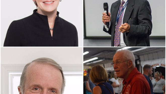 The 2016 Delaware Business Hall of Fame inductees will be (clockwise from top left) former DuPont CEO Ellen Kullman, developer Paul McConnell, former Delaware Community Foundation president Fred Sears and Allen Fasnacht, co-founder of the family-owned Rehoboth Beach boardwalk attraction Funland.