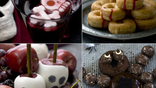 Clockwise from top left: Goblet Grave, Vampire Doughnuts, Candied Apple Craniums, Doughnut Spider