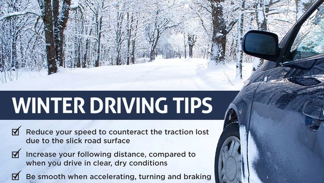 Winter driving tips offered by AAA.