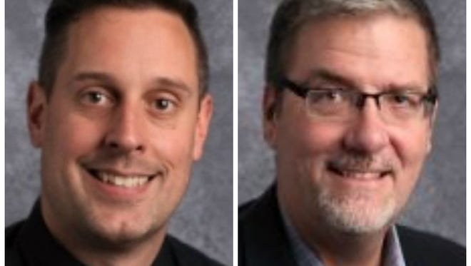 Mitch Kuhnert, left, and Bryan Stearns, the principal and associate principal, respectively, at Valley Southwoods in West Des Moines, were placed on leave Friday.