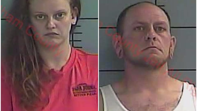 La Grange Police arrested Heather Cecil (left) and James Armstrong (right) in connection with a drug bust Tuesday evening,
