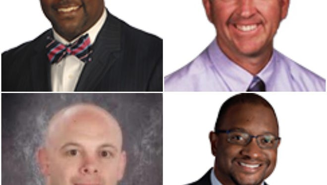 New Castle County Vo-Tech principals. Clockwise, from top-left: Clifton Hayes, Jerry Lamey, Shanta Reynolds, and Stanley Spoor.