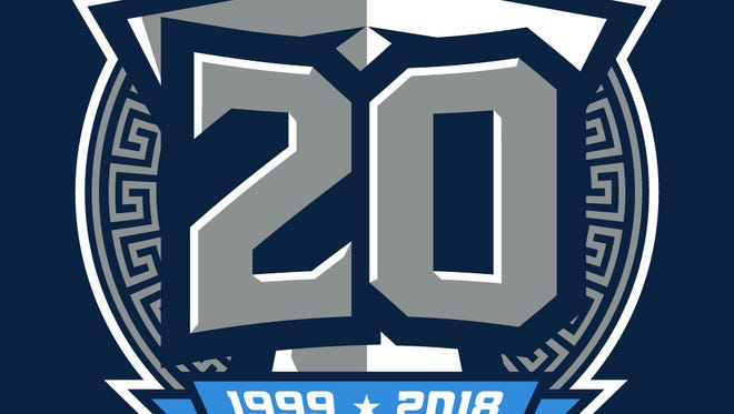 The Titans are planning to wear this logo as a small helmet decal in 2018 to commemorate their 20th season since rebranding from the Oilers to the Titans.