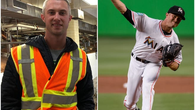 Trevor Richards takes a tour of the MillerCoors brewery on April 18, 2018 (left), one year after working at the brewery in guest relations. At right, he pitches against Boston on April 2, 2018.
