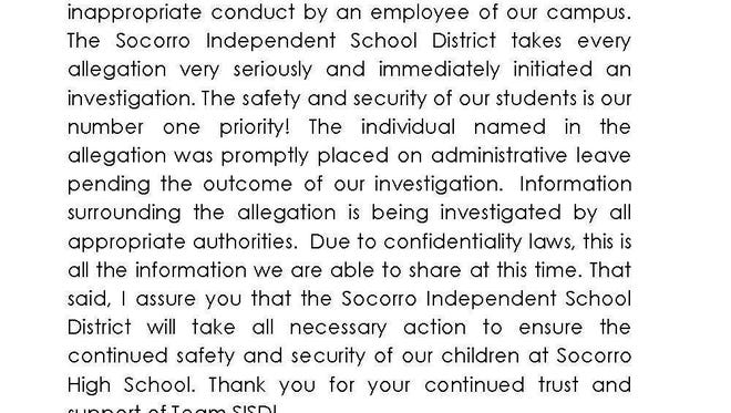 "Socorro High School Principal Josh Tovar posted a photo of a notification sent to parents Thursday involving an ""inappropriate conduct"" investigating being conduct about an employee."