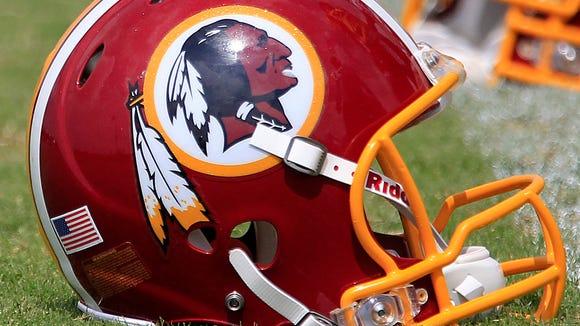 Helmets worn by players of the Washington, D.C., football team.