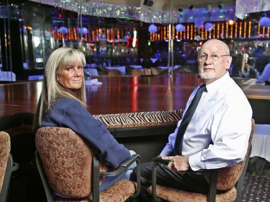 Co-owners Ed Gobel and his daughter Tona Biddle Wednesday, March 2, 2016, inside Filly's Gentlemens Club, 2311 Concord Road in Lafayette.