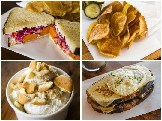 (Top L-R): Veggie sandwich and a side of potato chips. (Bottom L-R): Banana pudding and a Pastrami croque madame from Worth Takeaway in Mesa.