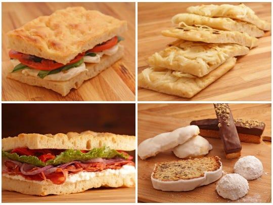 (Top L-R): The mozzarella and tomato focaccia sandwich and onion focaccia. (Bottom L-R): The soppressata focaccia sandwich and assortment of Italian cookies from Leoni's Focaccia in Scottsdale.