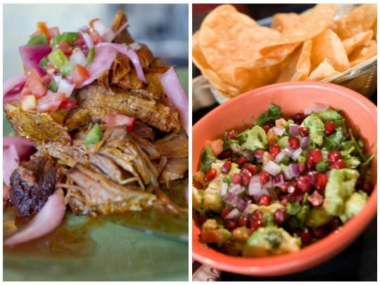 The cochinita pibil (L) and the pomegrante-studded guacamole (R) from Barrio Cafe will also be served at the new Gran Reserva.