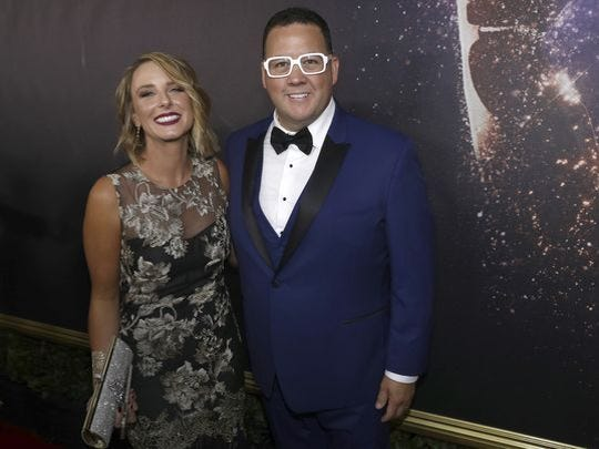 Allie Elliot and Graham Elliot appear at the 69th Primetime Emmy Awards on Sunday, Sept. 17, 2017, at the Microsoft Theater in Los Angeles.