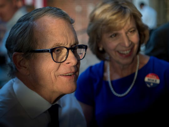 Ohio Attorney General Mike DeWine greets supporters on election night in Columbus. (AP Photo/Bryan Woolston)
