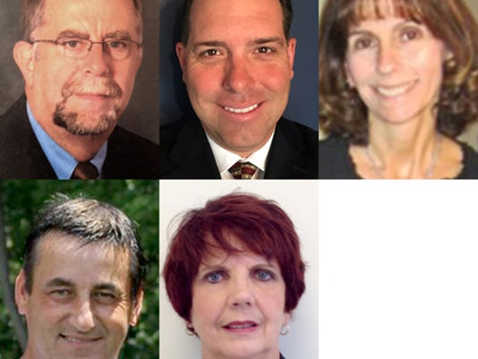 Shown are five of the eight West York school board candidates. Top row from left, Rodney Drawbaugh, Todd Gettys and Jeanne Herman. Bottom row from left, Eric Pomeroy and Jayne Shepro.  Not shown are Joseph Gallagher, Douglas Hoover and Lynn Kohler.  Submitted