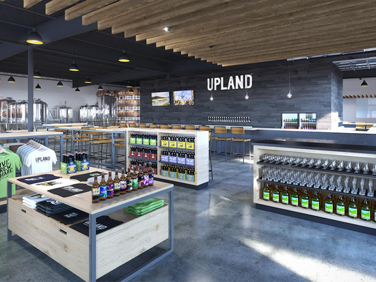 A rendering of Upland Brewing's beer hall, beer garden, brewery and bike shop complex opening in spring 2019 at Fountain Square in Indianapolis.