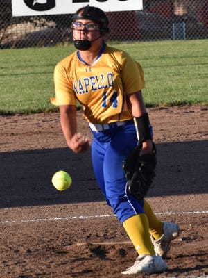Wapello High School junior Anesa Noa fires a pitch in the third inning of an interdivisional softball game at Danville Wednesday night.