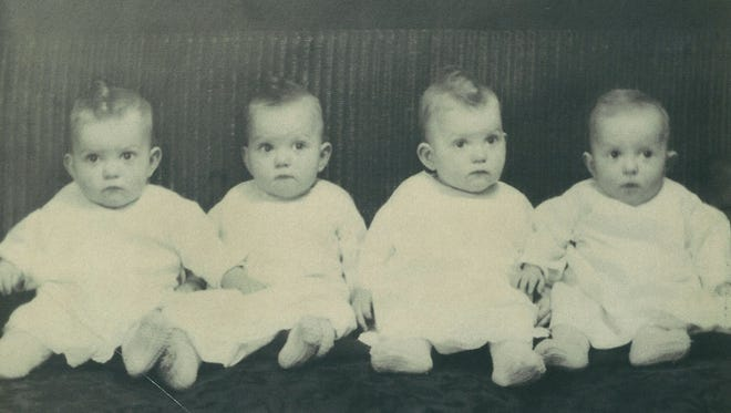 Morlok quads Edna A., left, Wilma B., Sarah C. and Helen D., at one year old, in an undated photo.