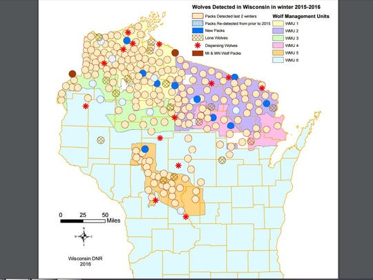 Wolves detected in Wisconsin in winter 2015-16 by location in the state.