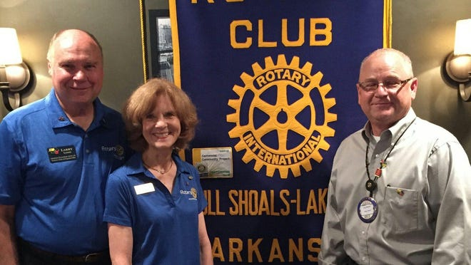 "Bull Shoals-Lakeview Rotary recently hosted District 6110 Governor Larry Long and his wife, Nancy. Gov. Long updated the club on the 2015-2016 District plans for the upcoming year geared to the theme ""Be a Gift to the World."" The Longs are shown with new club president, Dave Manley, right."