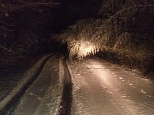 A secondary road in the Candler area around 6 a.m.