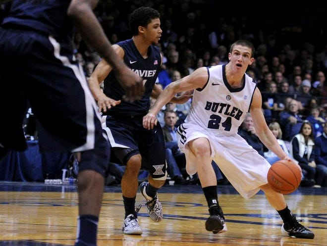Butler guard Kellen Dunham pushes the ball into the paint against Xavier inside Hinkle Fieldhouse, Tuesday, February 11, 2014, in Indianapolis.