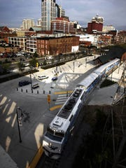 The Music City Star pulls into the Riverfront station