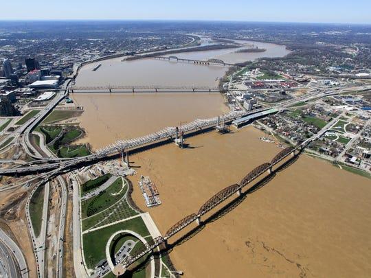 Downtown Louisville.  Louisville skyline.  Ohio River.
