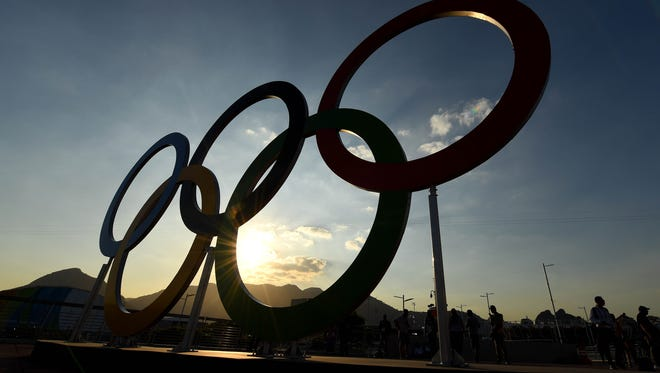 A view of the Olympic Rings at Olympic Park prior to the 2016 Rio Olympic games.