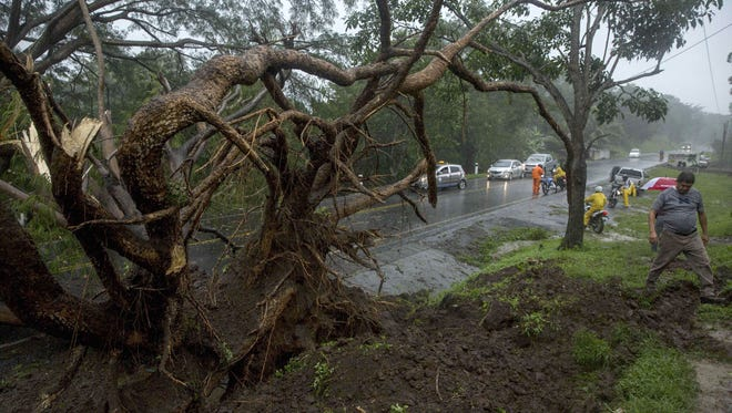 A man walks by a fallen tree after the passing of Storm Nate on the road to Masaya, Nicaragua.  At least 22 people were killed, 11 of them in Nicaragua, and 10 missing in Central America, as heavy rains brought by tropical storm Nate flooded areas affecting buildings and plantations.