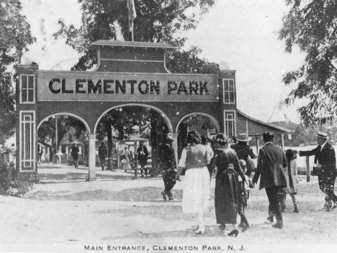 Photo courtesy of the Camden County Historical Society of the main entrance to Clementon Park as it appeared in the mid 1920's.