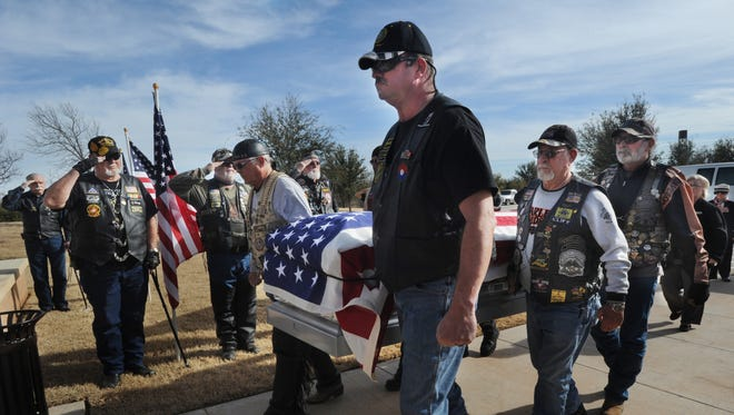 Members of the Patriot Guard Riders serve as pallbearers at the service for Vietnam veteran Charles Sorrell, who died in Odessa with no known next of kin. Sorrell was buried at Texas State Veterans Cemetery at Abilene on Tuesday, Jan. 10, 2017.