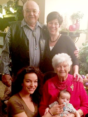 Verna D. Sanger, Donald R. Sanger, Crystal L. Miller (Sanger), Chelsea R. Boylen (Miller) and Aedan J. Boylen get together for a five generations photo.